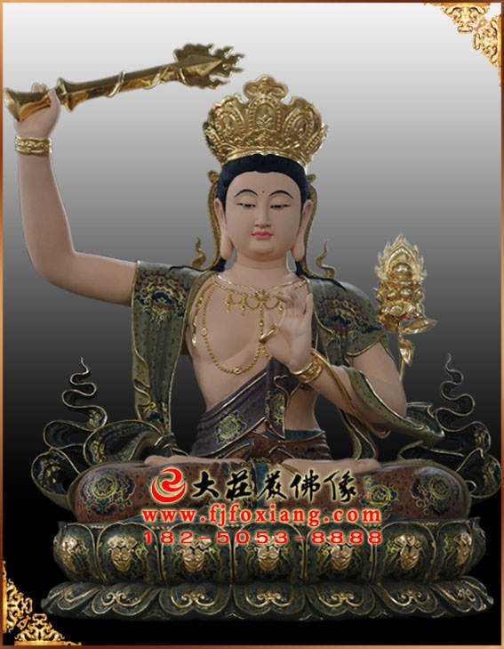 铜雕文殊菩萨彩绘塑像