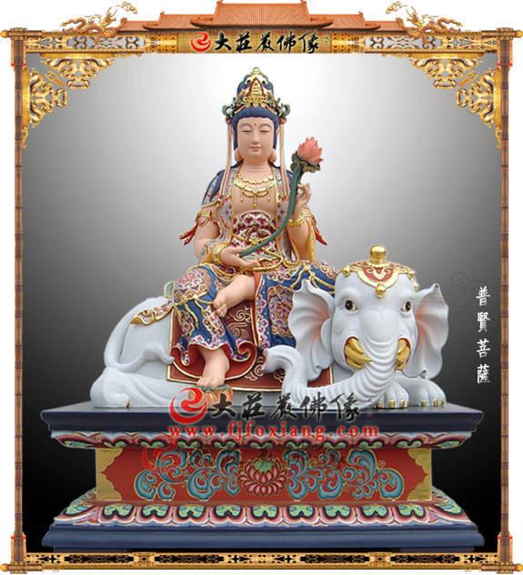 铜雕极彩普贤菩萨塑像