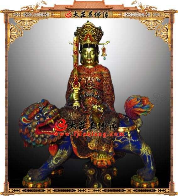 铜雕极彩文殊菩萨