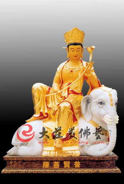 铜雕贴金普贤菩萨佛像