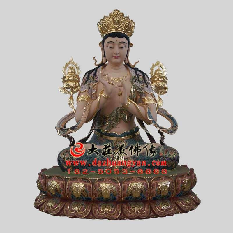 铜雕无垢文殊菩萨彩绘塑像