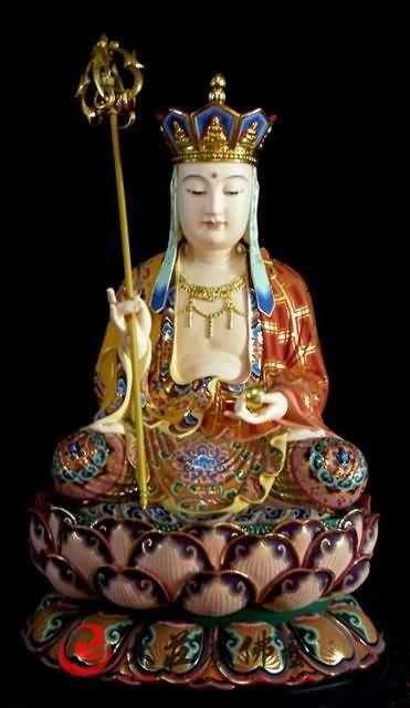 铜雕彩绘地藏王菩萨