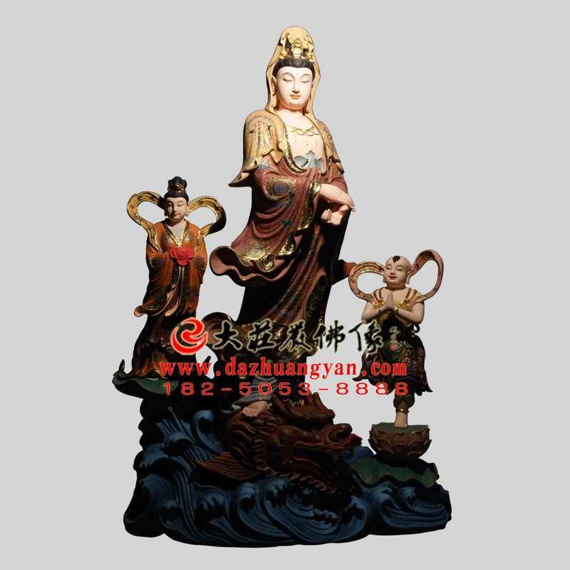 铜雕海岛观音彩绘佛像