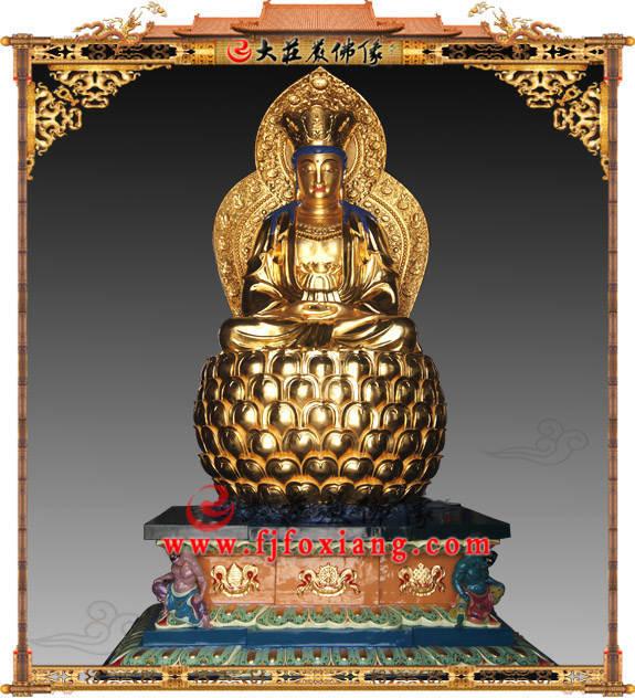 铜雕贴金观音菩萨坐像