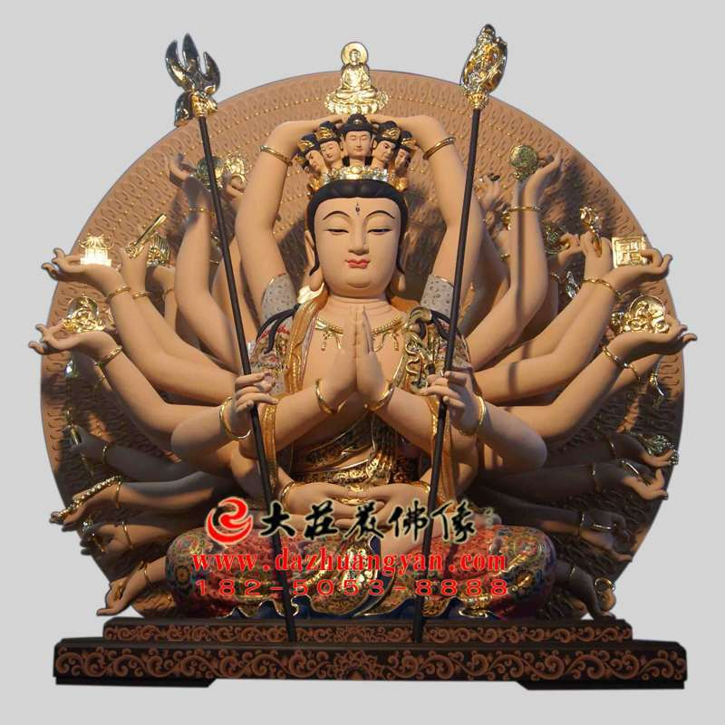 铜雕彩绘千手观音塑像