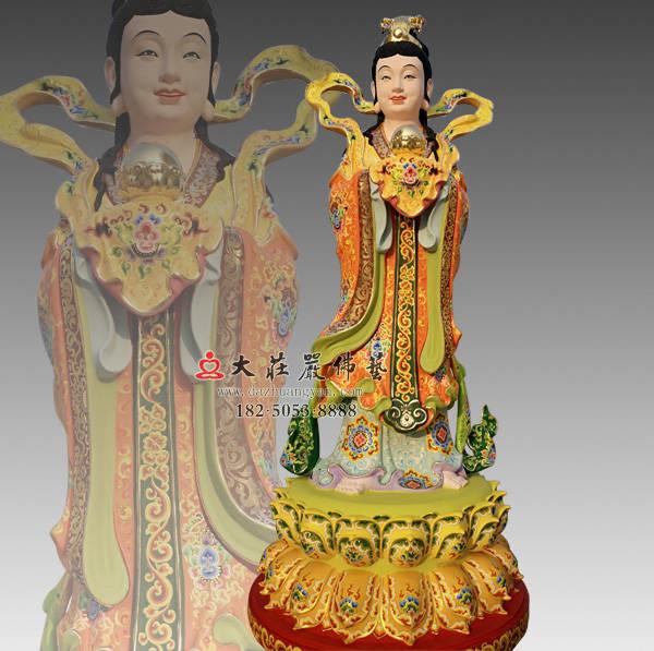 铜雕彩绘描金龙女塑像