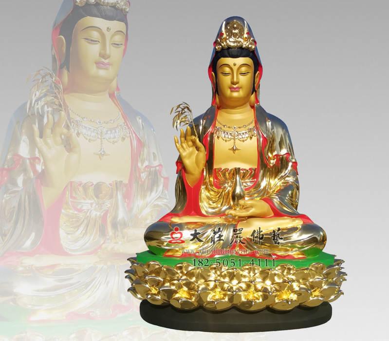 铜雕彩绘贴金观音菩萨
