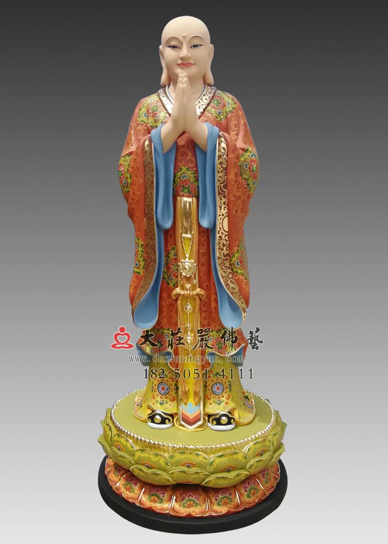 铜雕地藏王菩萨之左胁侍道明彩绘塑像