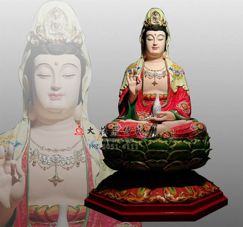 铜雕观音菩萨彩绘像