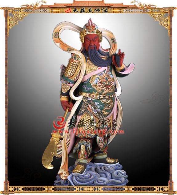 铜雕伽蓝菩萨彩绘像