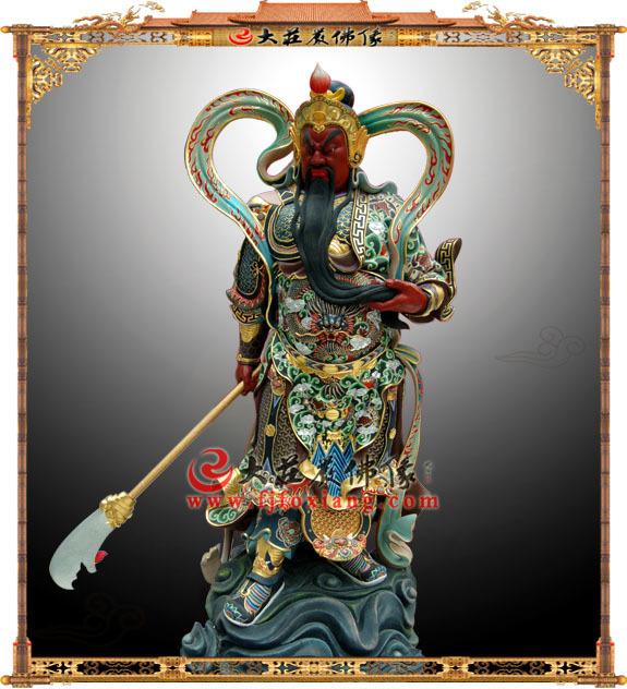 铜雕彩绘关公持刀神像