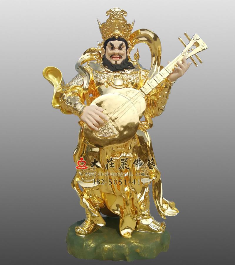 铜雕四大天王之贴金东方持国天王