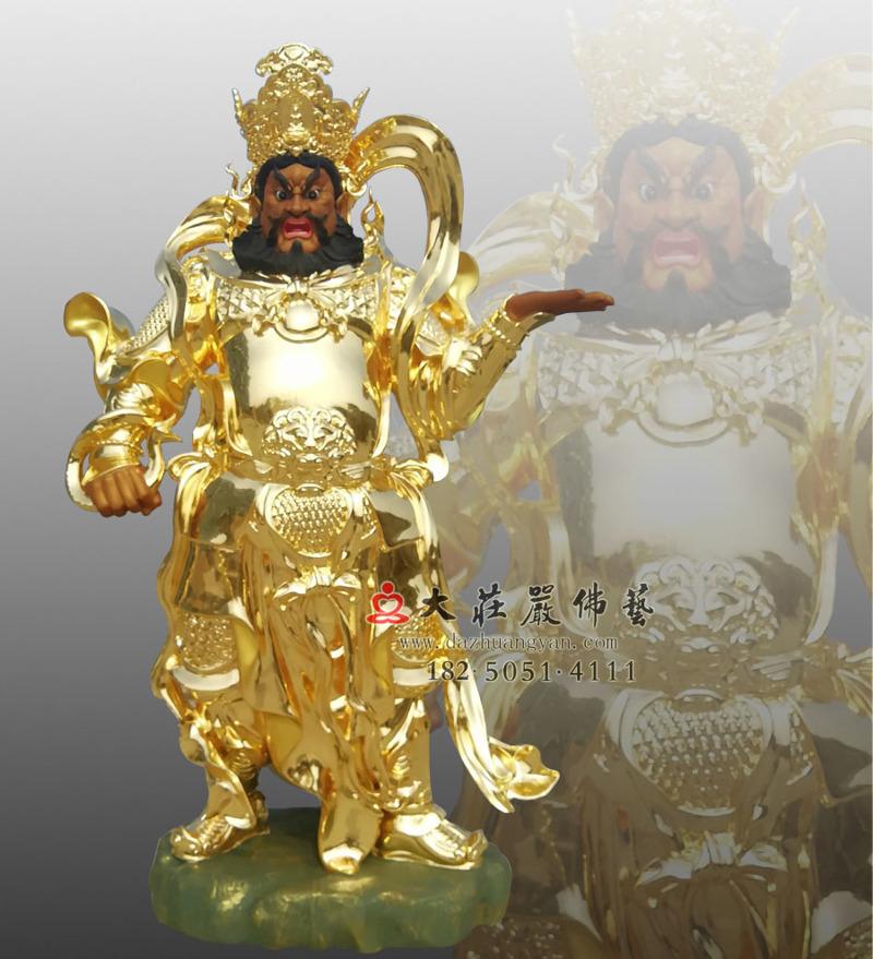 铜雕四大天王之贴金广目天王