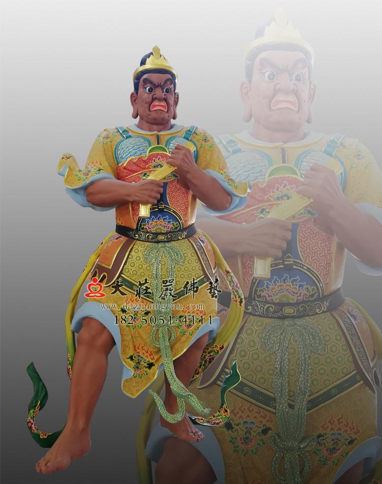 铜雕四大天王之八大眷属彩绘像