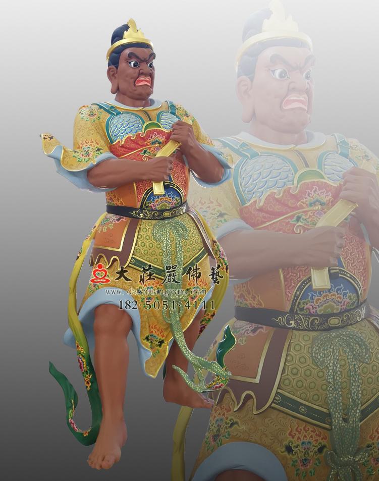铜像彩绘四大天王的八大眷属