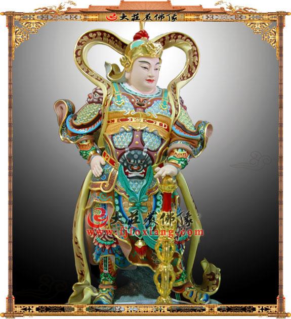铜雕韦驮彩绘佛像