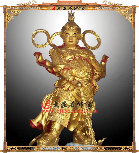 铜雕贴金韦驮护法神像