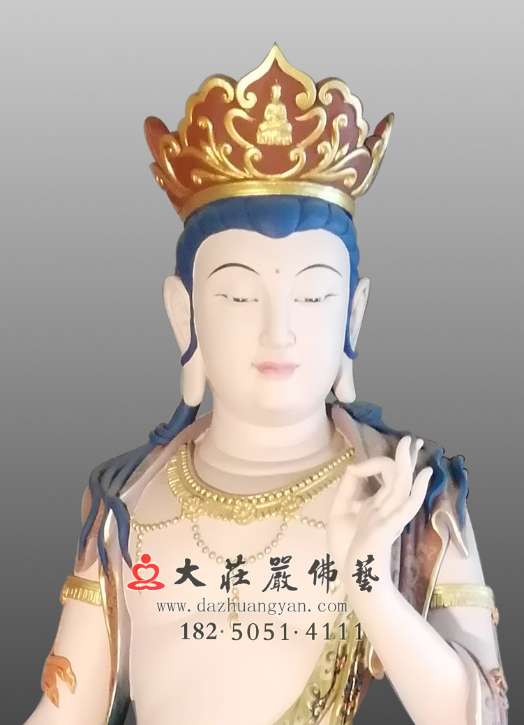 铜雕八大菩萨-弥勒菩萨彩绘近照