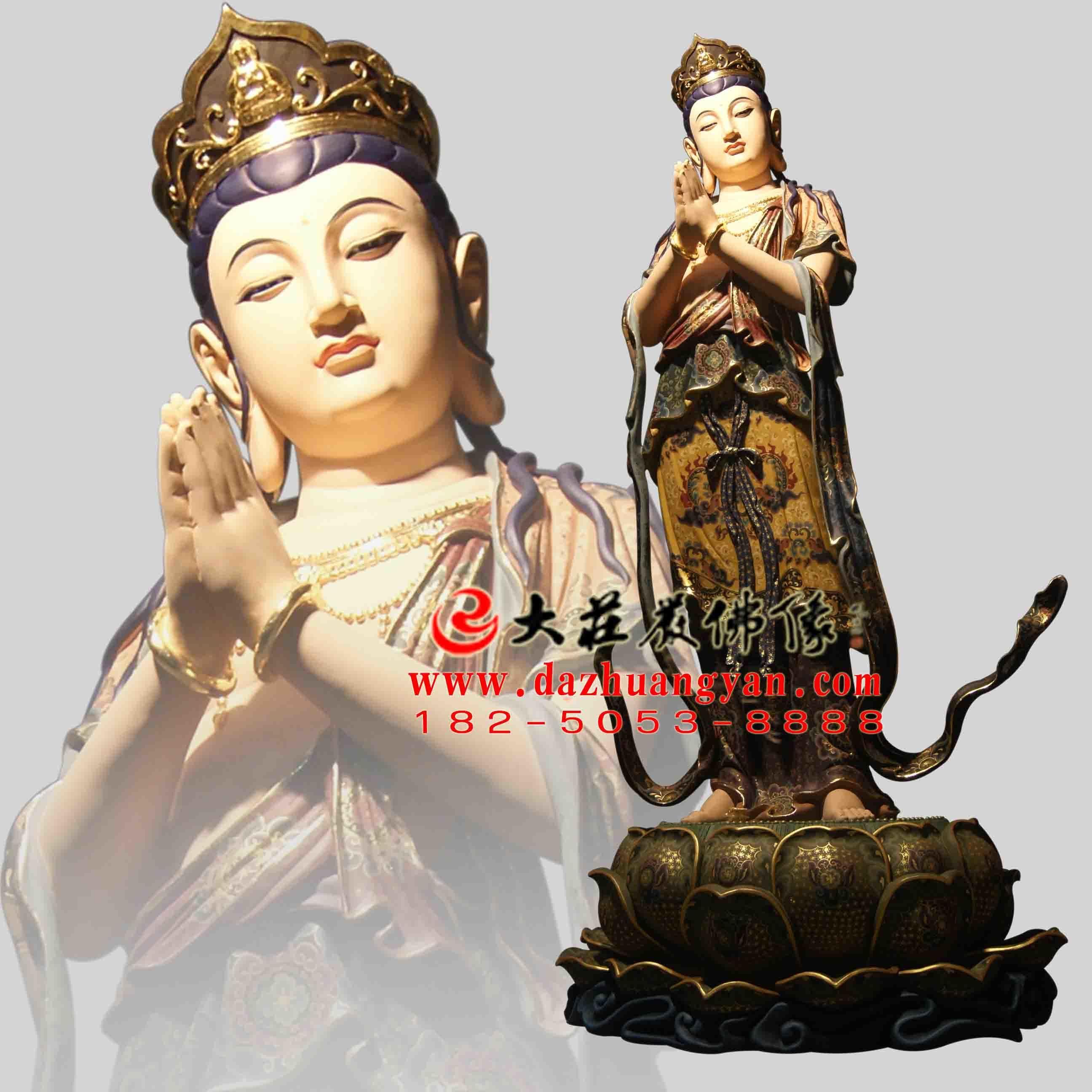 铜雕八大菩萨之观音菩萨彩绘佛像