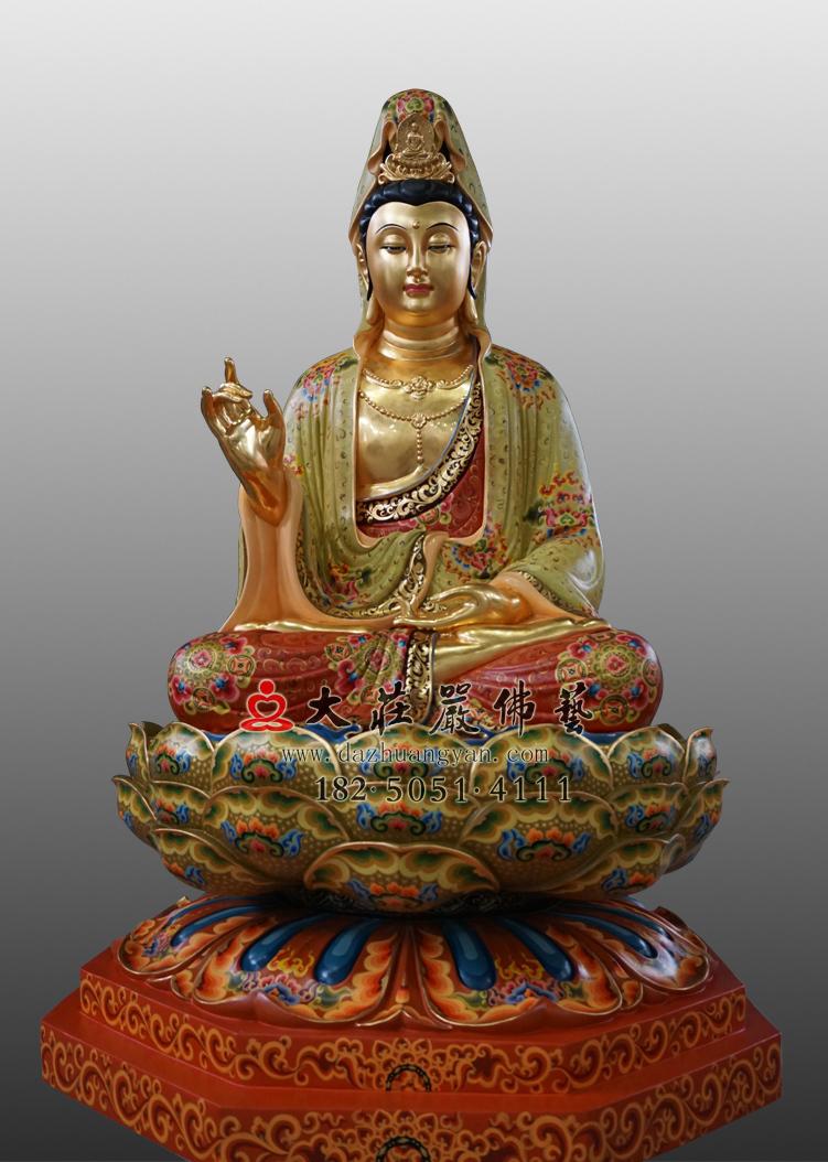 铜雕彩绘贴金观世音菩萨