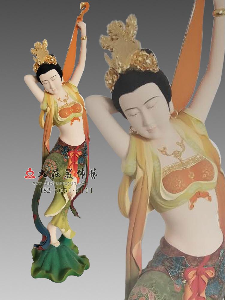 铜雕反弹琵琶伎乐天彩绘像