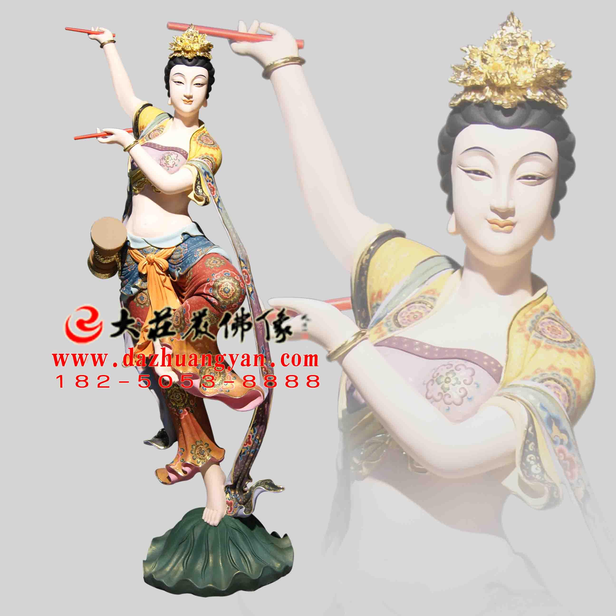 铜雕鼓手伎乐天彩绘神像