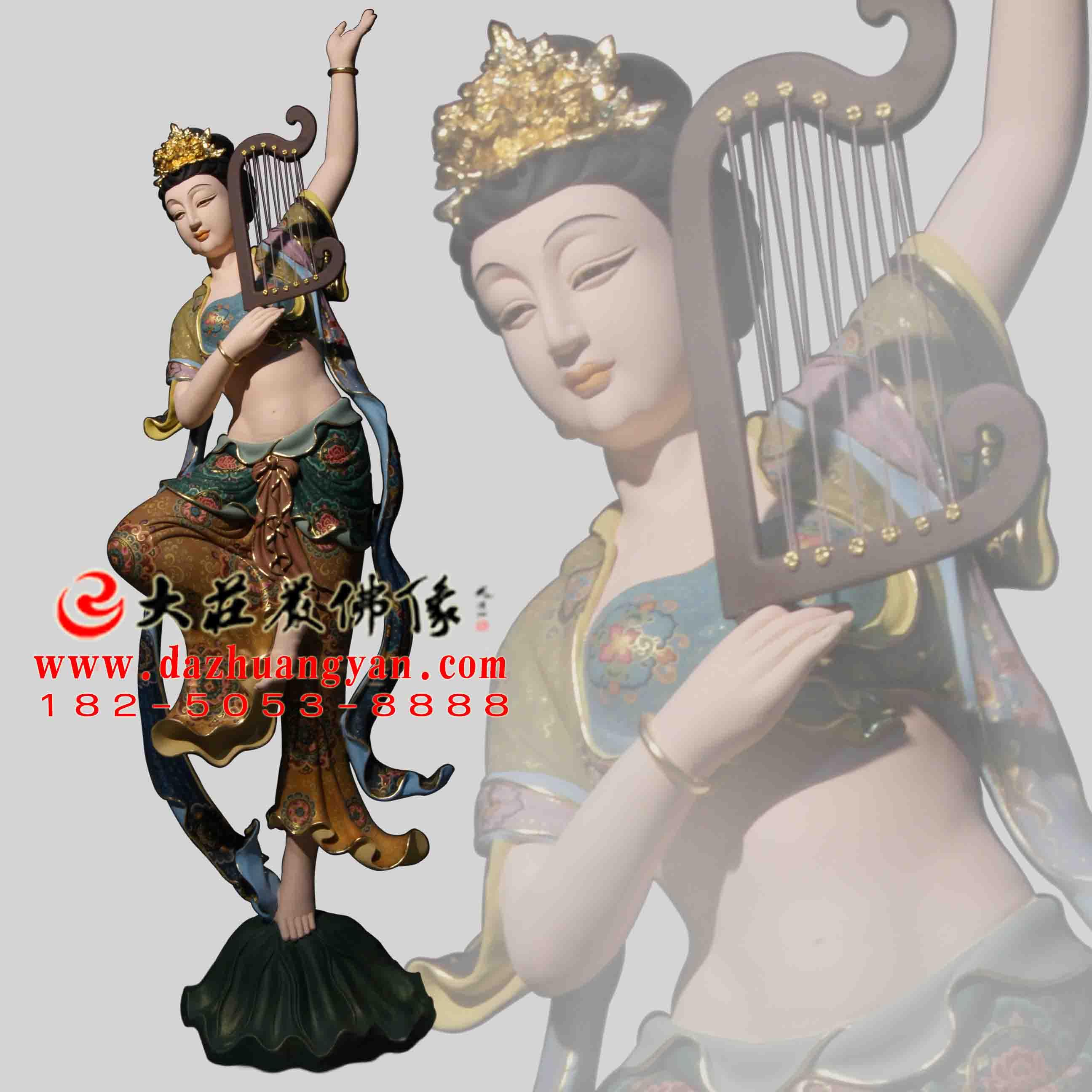 铜雕箜篌伎乐天彩绘神像