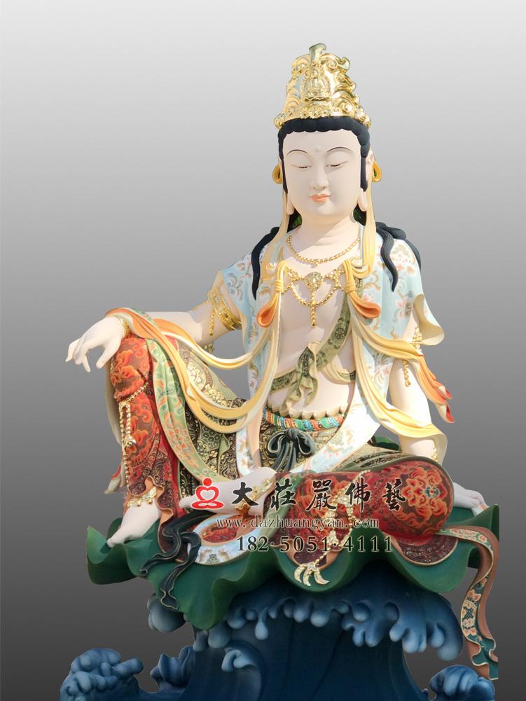 铜雕自在观音彩绘佛像