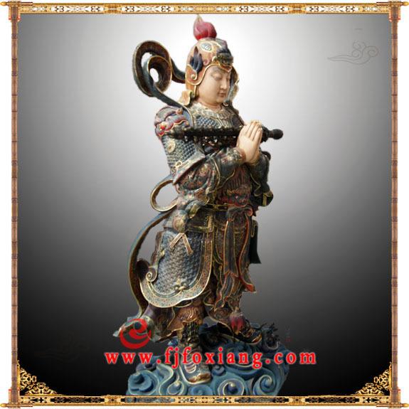 铜雕朝天韦驮彩绘塑像
