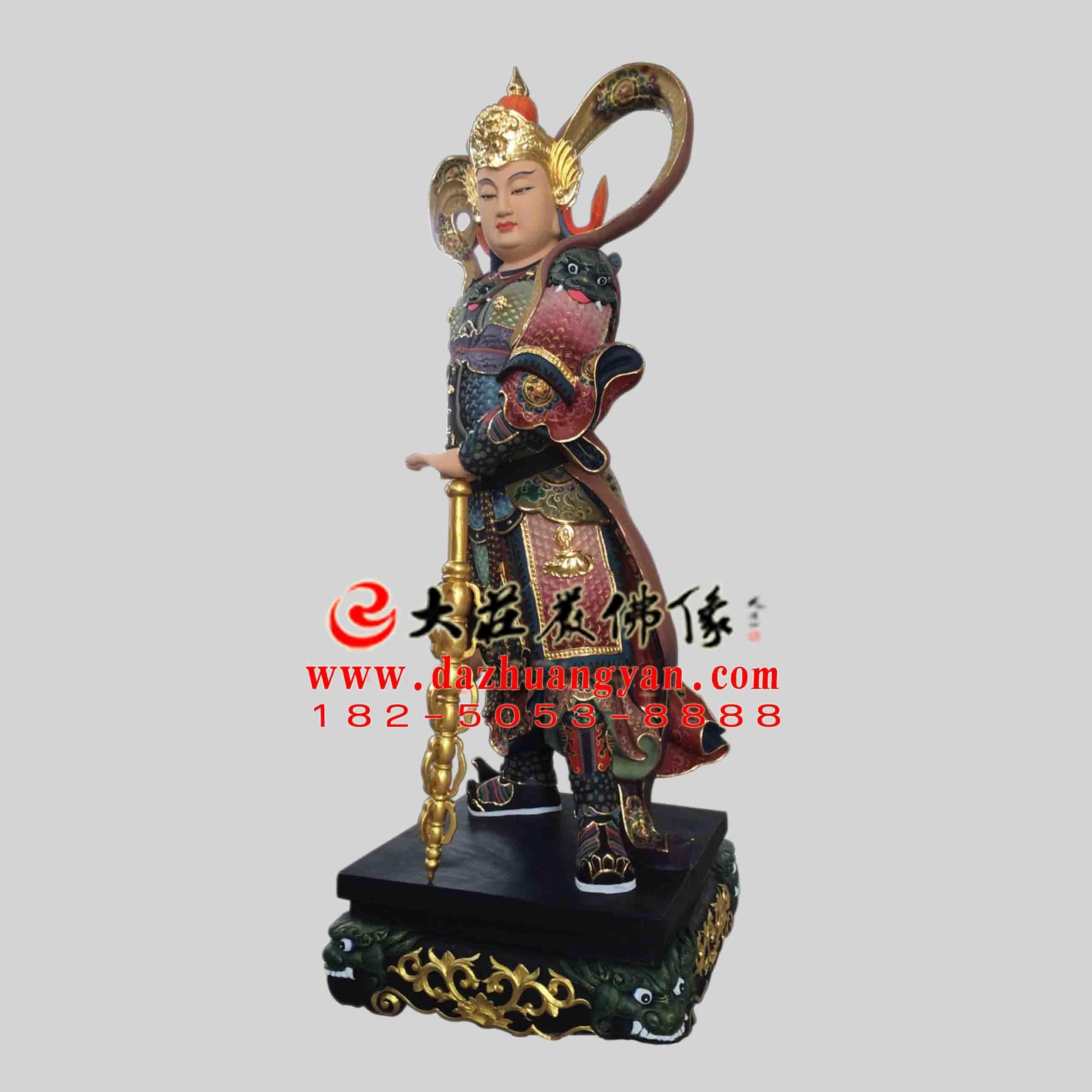 铜雕彩绘描金护法神韦陀塑像