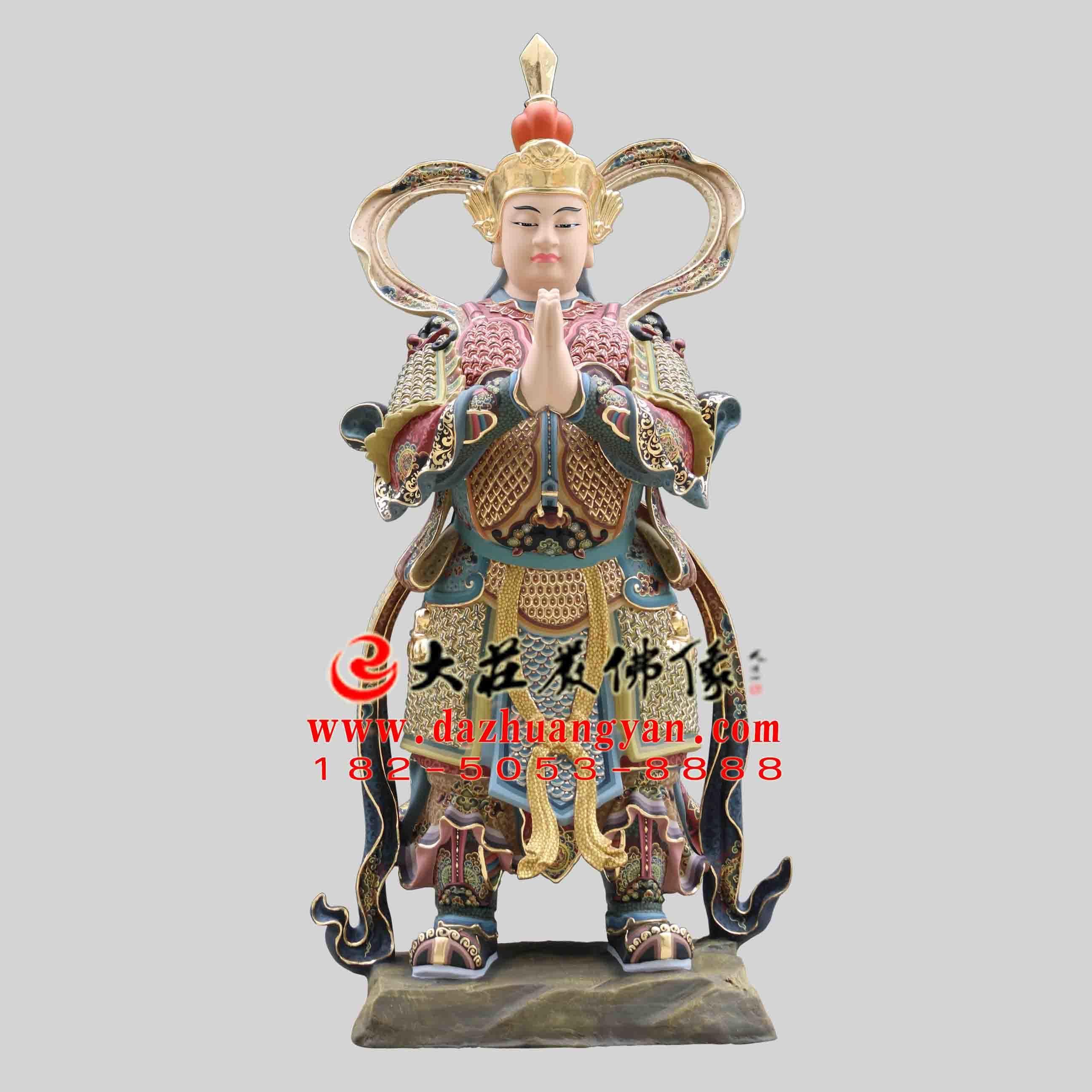 铜雕彩绘描金朝天韦驮塑像