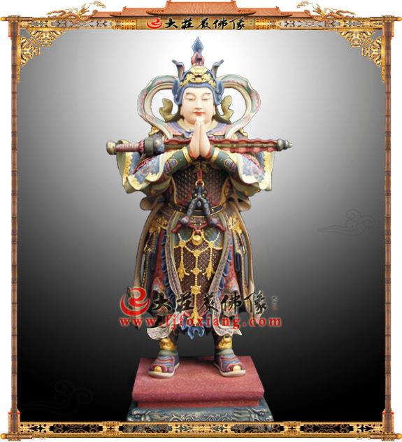 铜雕合掌韦驮菩萨彩绘塑像