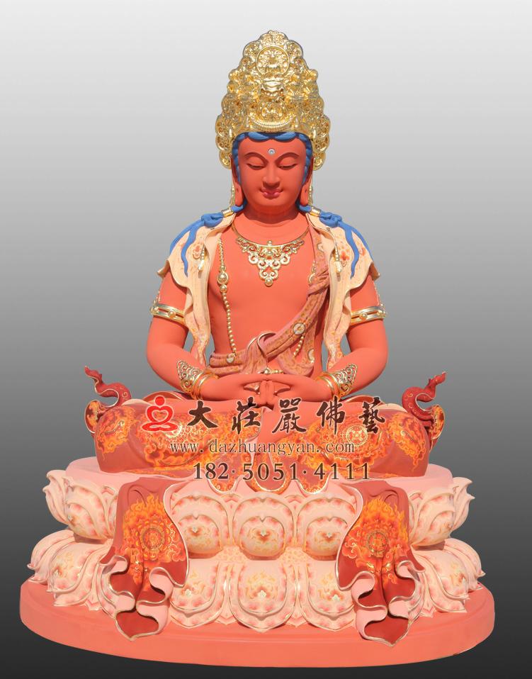 铜雕五方佛之阿弥陀佛彩绘贴金佛像