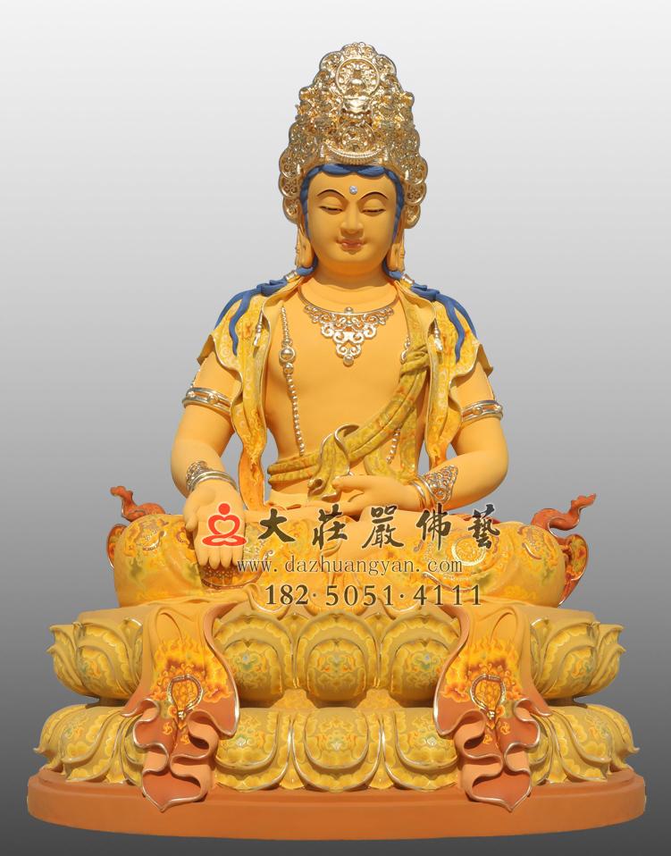 铜雕五方佛之宝生佛彩绘贴金佛像