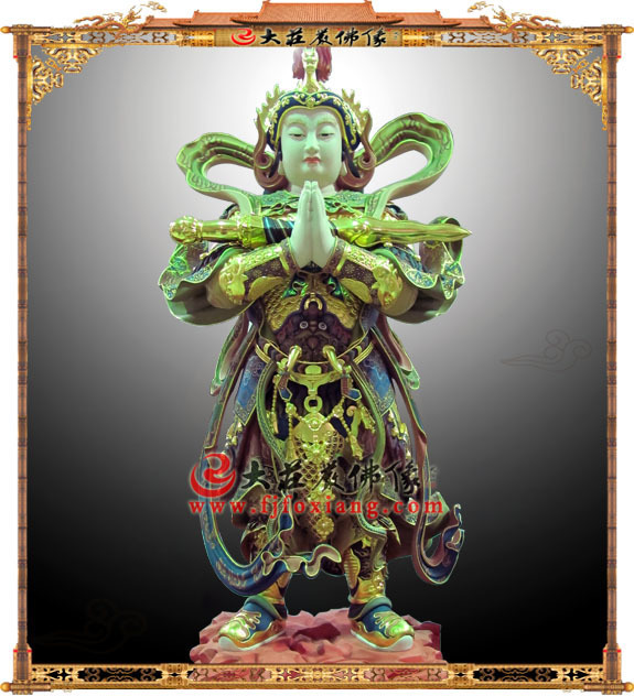 铜雕彩绘韦驮天将军
