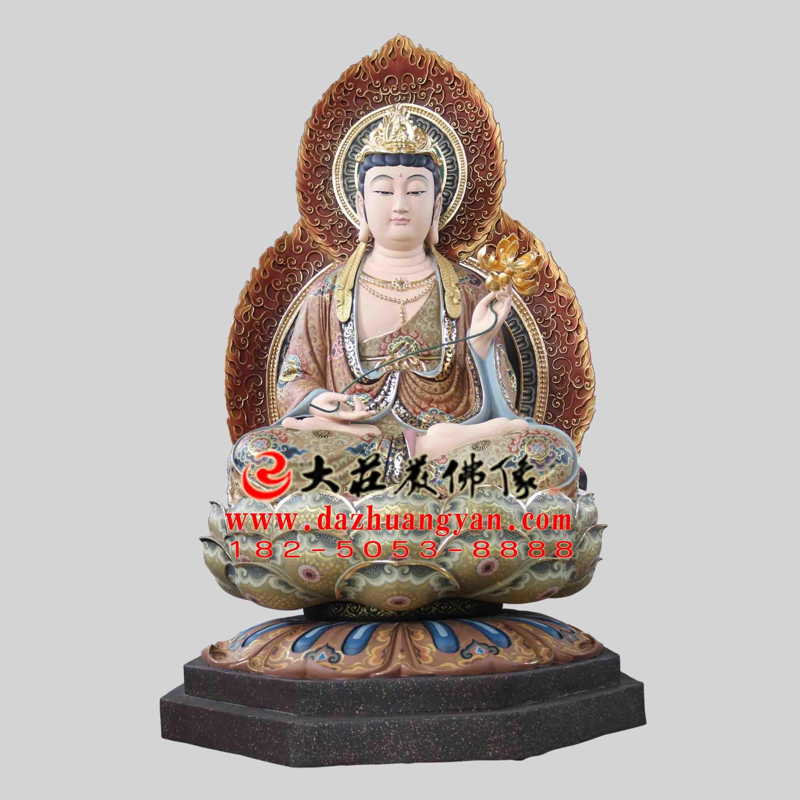 铜雕西方三圣之大势至菩萨彩绘塑像